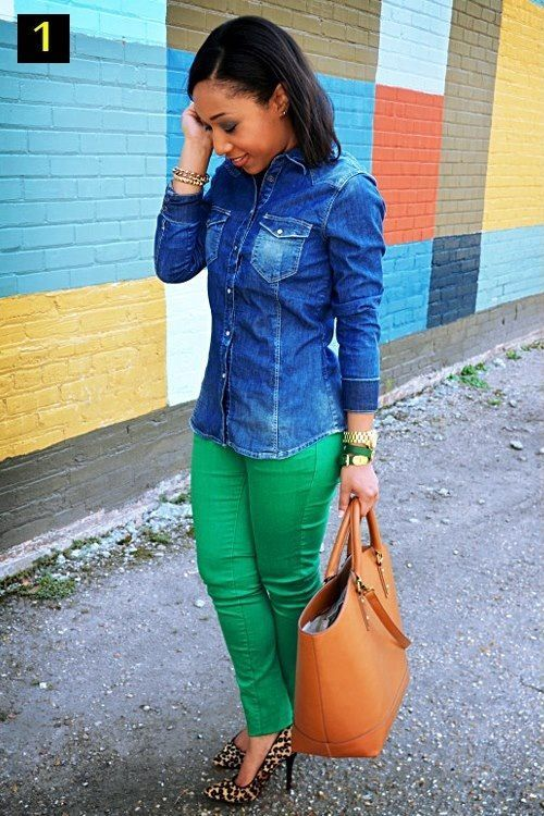 Love the denim and green pants.