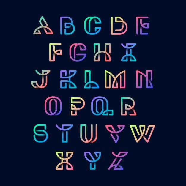 Download Colorful Retro Alphabets Vector Set For Free レタリングアルファベット クリエイティブなレタリング レタリングのスタイル