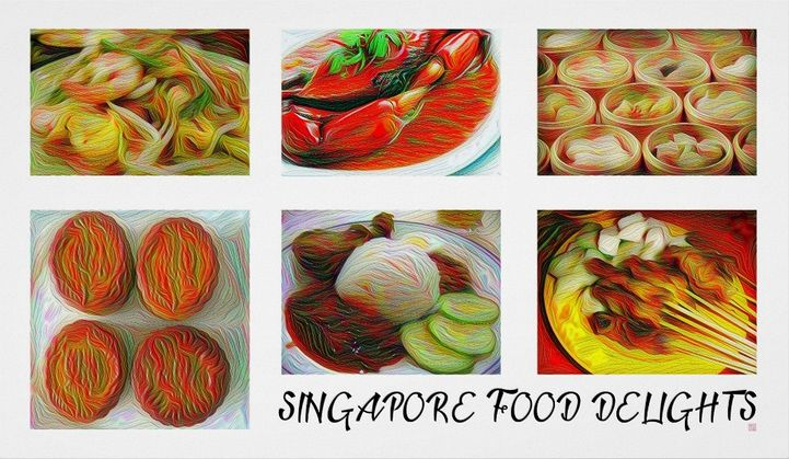 Singapore Food Delights. Singapore food re-imagined.  Large Art Print. 36 inches X 21 inches. Archival Heavyweight Paper http://www.zazzle.com/singapore_food_delights_large_art_print-228768209507577676 #Singapore #food #art