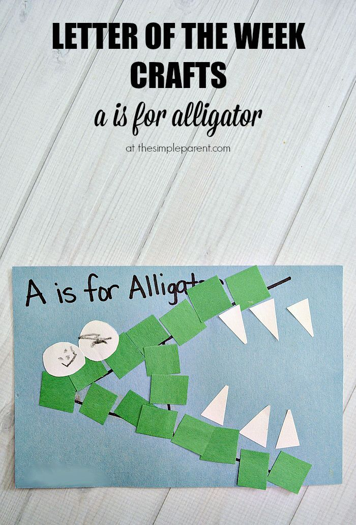 Letter of the Week Crafts are a fun way to learn and practice the alphabet. Practice the letter A with A is for Alligator alphabet craft for kids!