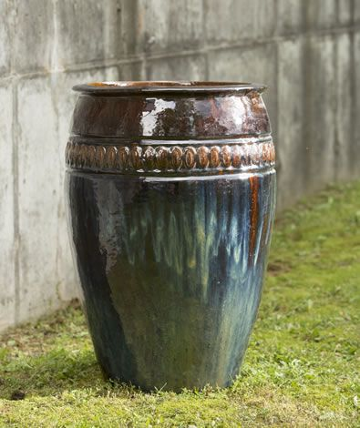 Fierra Planter in Cognac by Campania International. Can stand alone or anchor a container garden