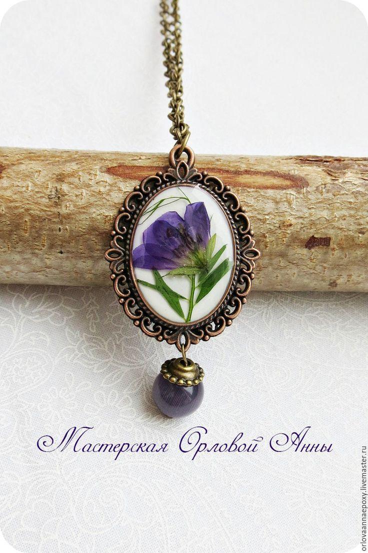 Купить Кулон с сухоцветами - фиолетовый, украшения с сухоцветами, ювелирная смола, фиолетовый цветок, фиолетовый кулон