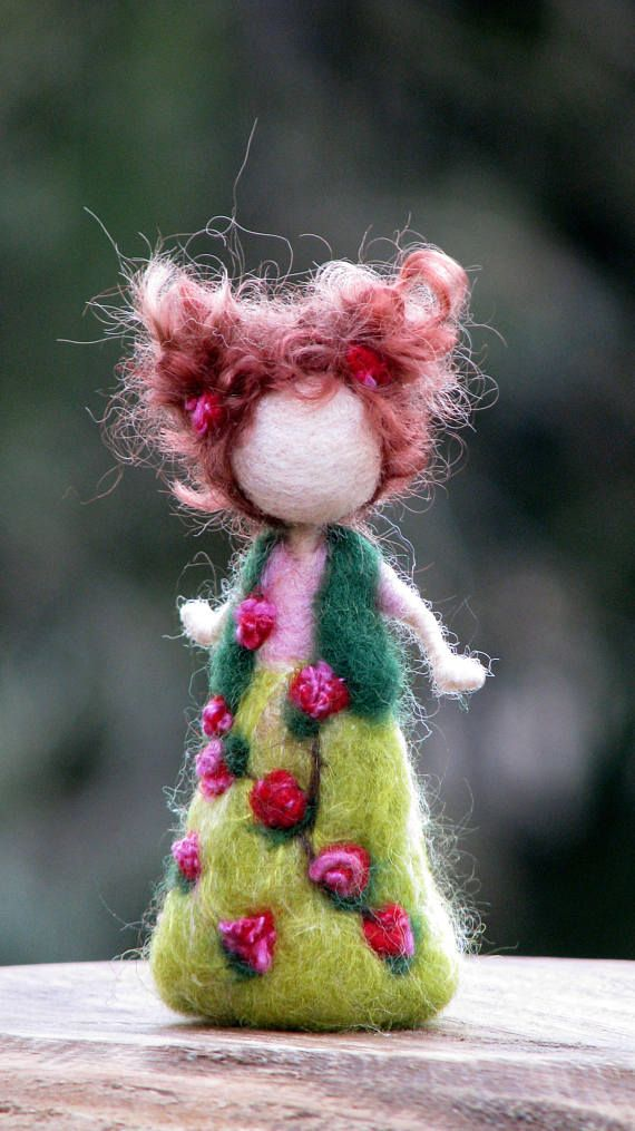Ornament Waldorf inspired fairy doll Needle felted doll Spring