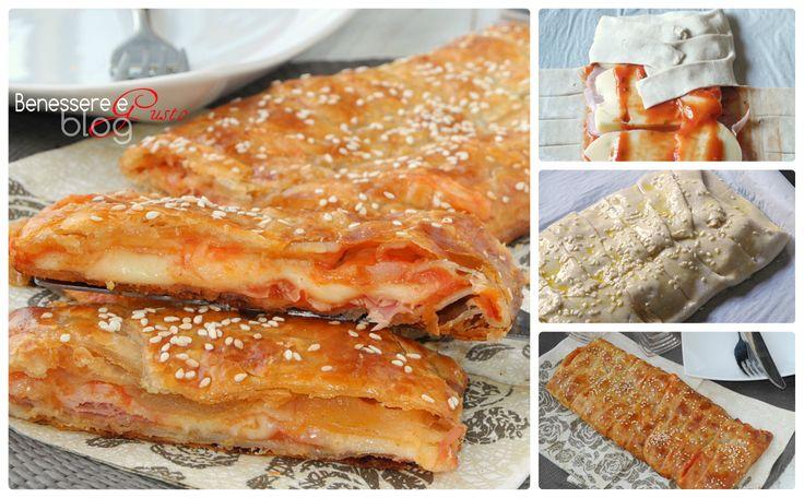Treccia rustica gusto parigina, ricetta facile e veloce con pasta sfoglia, condimento della classica pizza parigina. Idea finger food aperitivo