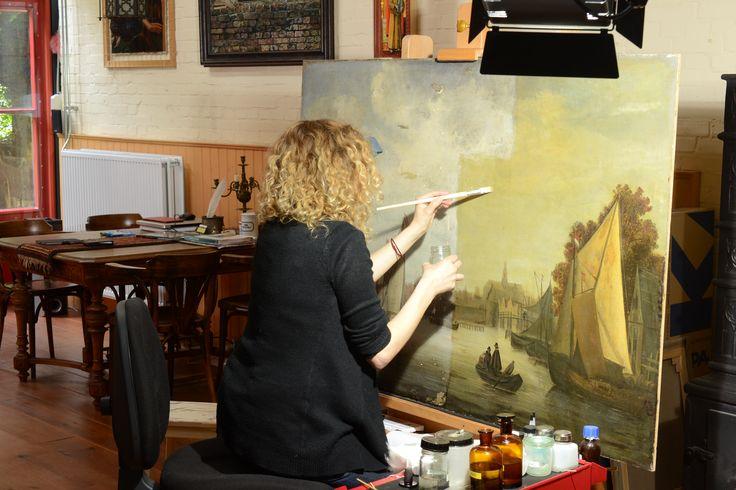 Gezicht op Haarlem - tijdens afname vernis en oude retouches - RestauratieatelierHaarlem.nl
