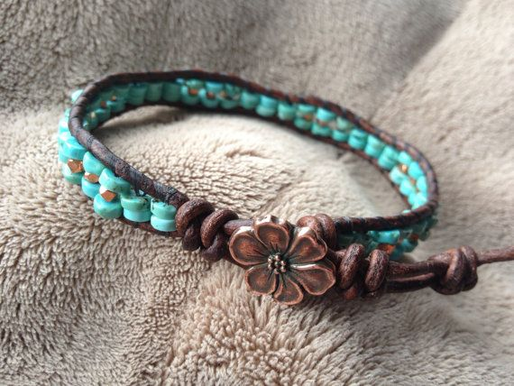 Turquoise and Copper leather bracelet with red copper cherry blossom flower button  southwestern artisan western jewelry
