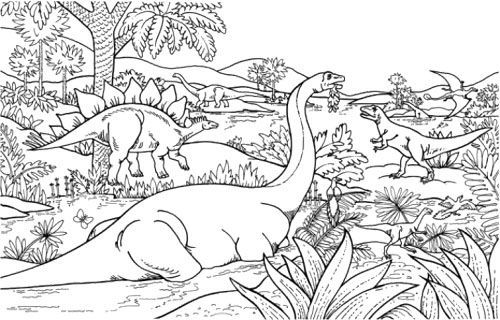 dinosaur jungle coloring page coloring pages for adults pinterest jungles coloring and. Black Bedroom Furniture Sets. Home Design Ideas