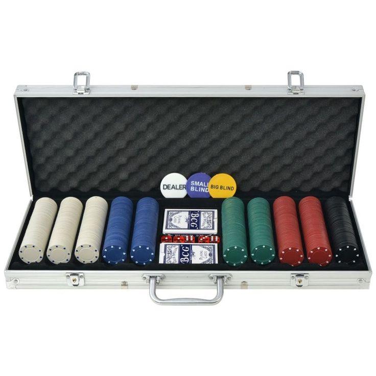 Aluminium Poker Set Casino Playing 500 Pieces Chips Dice Deck Card Case Portable #AluminiumPokerSet