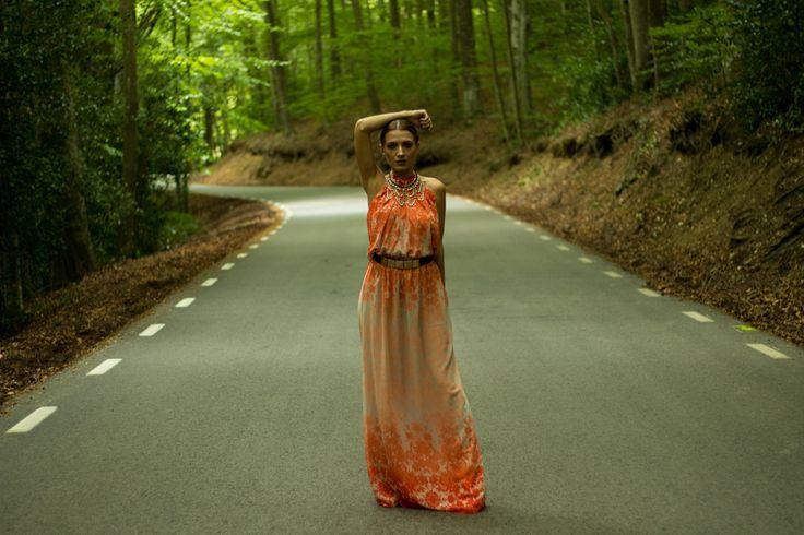 outfit, look, today look, orange dress, large orange dress