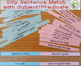 Silly Sentence Match Up with Subjects and Predicates---Crockett's Classroom