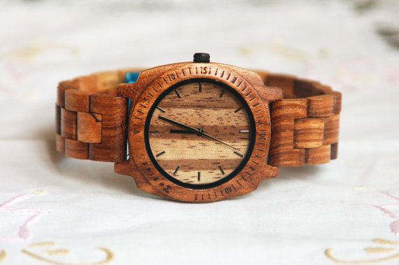 Wood Watch For Women or Men Sandal Wooden Watch Wrist Bracelet Quartz Vintage Watch With Round Dial Gift Zebra(W01018)