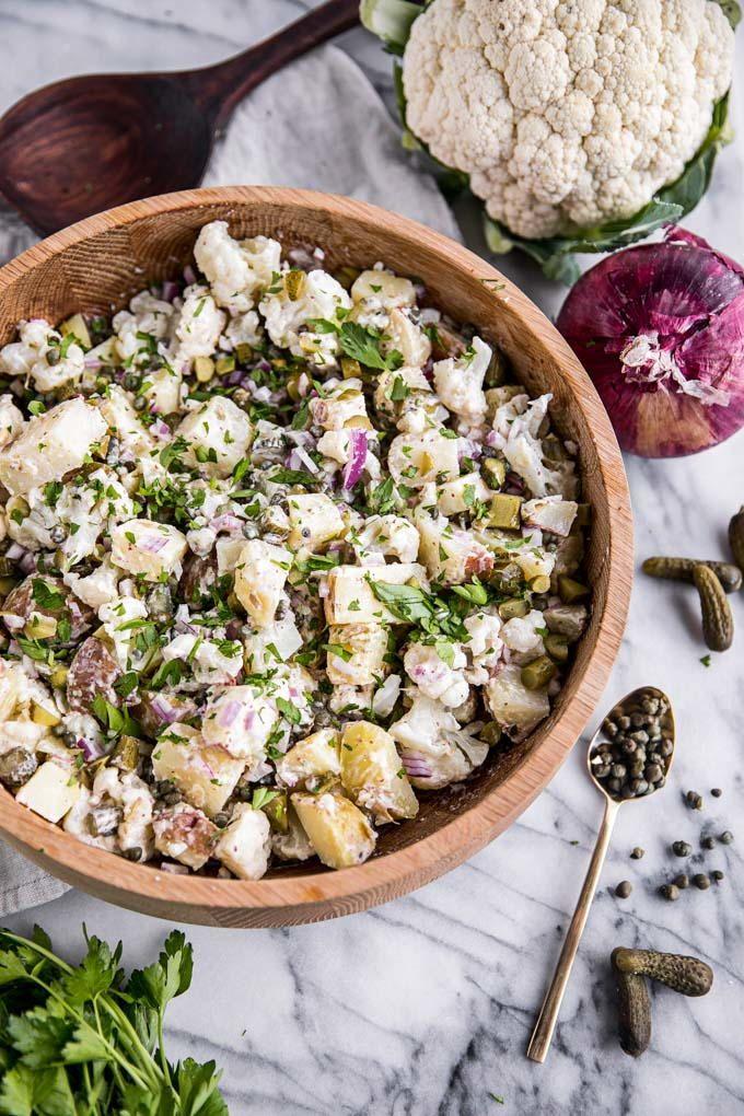 Easy Cauliflower Potato Salad | FaveGlutenFreeRecipes.com