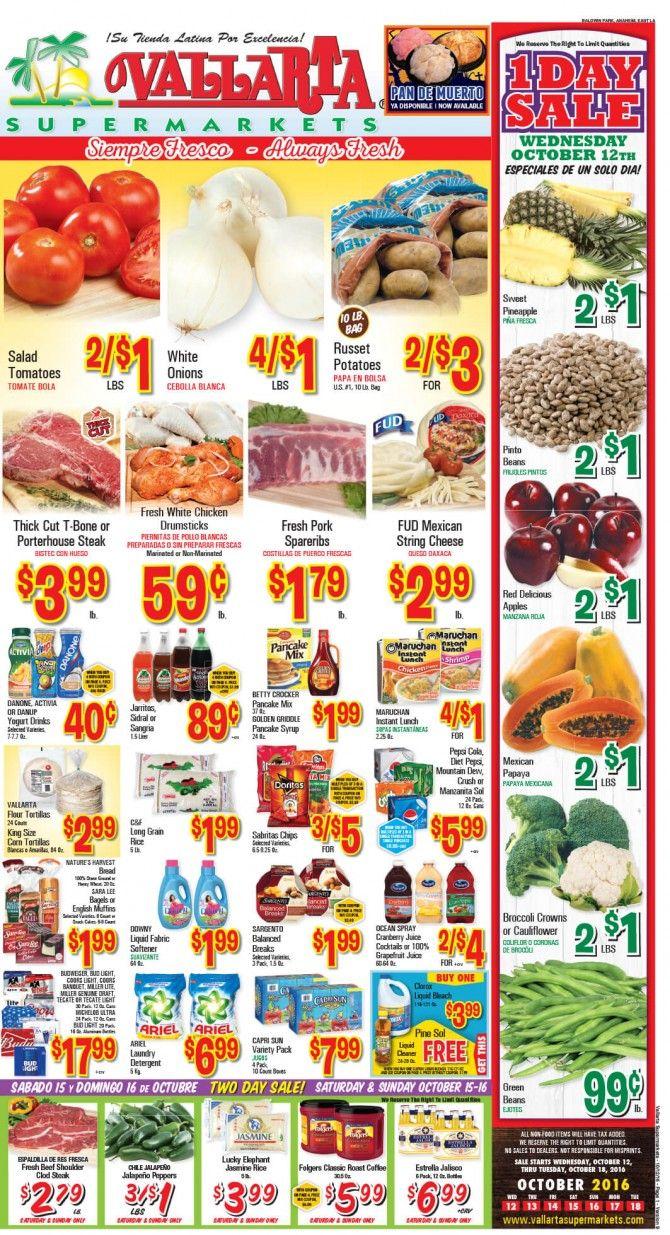 Vallarta Weekly Ad Flyer October 12 - 18, 2016 - http://www.olcatalog.com/grocery/vallarta-weekly-ad-fleyer.html