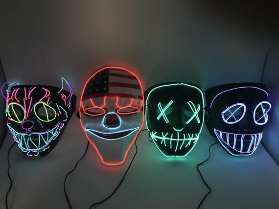 Rave LED Purge Glow Mask for Music Festival Party Nightclub Purge Halloween