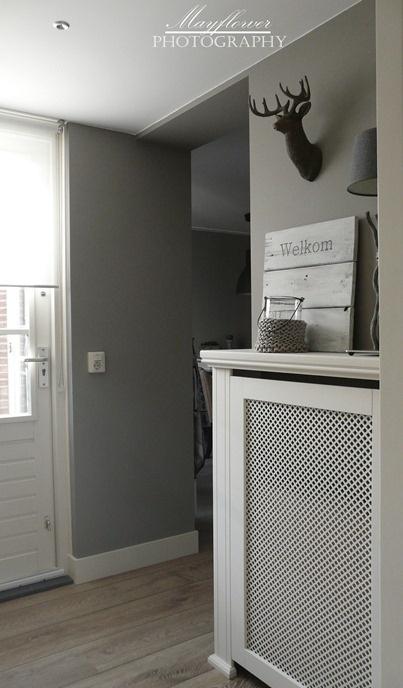 radiatorverstopper. Kleur van de muren en de hoge witte plinten.