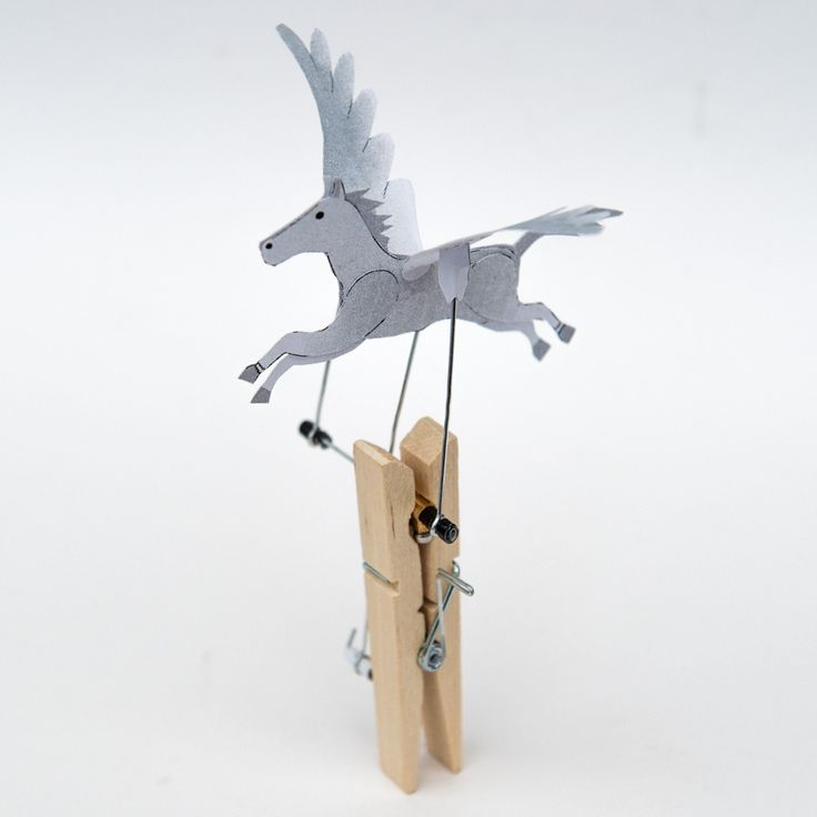 Turn the handle on the Pegasus model and the winged horse flies! The body and wings of this model are made from standard printer paper and the various linkages are constructed using straightened pa…