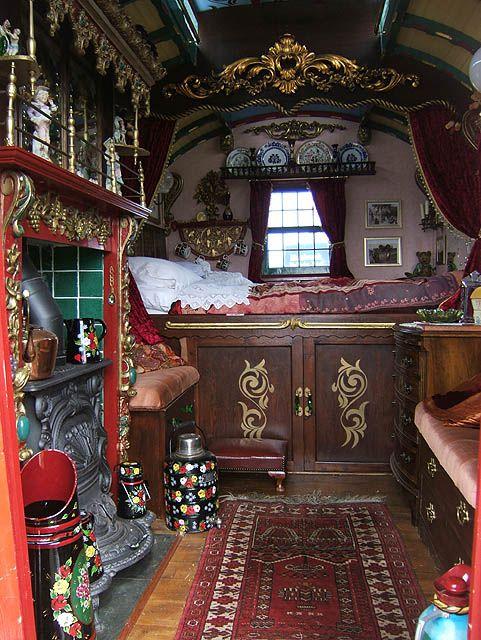 Caravan Gypsy Vardo Wagon:  The interior of a #Gypsy wagon.