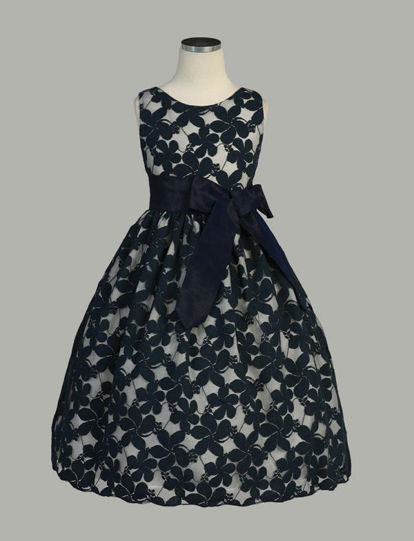 Flower Embroidered Lace Dress with Removable Sash - Black Flower Girl Dresses