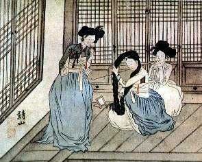 Kisaeng (also spelled gisaeng), sometimes called ginyeo (기녀), were officially sanctioned Korean female entertainers or sometimes prostitutes. Kisaeng are artists who work to entertain others, such as the yangbans and kings. First appearing in the Goryeo Dynasty (918 to 1392.), kisaeng were legally entertainers of the government, required to perform various functions for the state.