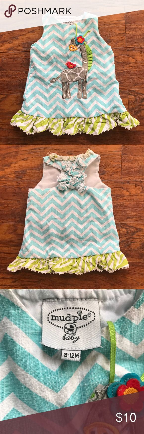 Mud Pie dress Giraffe print dress in good condition l. Loved his dress on my little one! Dress tag says 9-12 but fit my little girl from about 3-6 Months. Mud Pie Dresses Casual