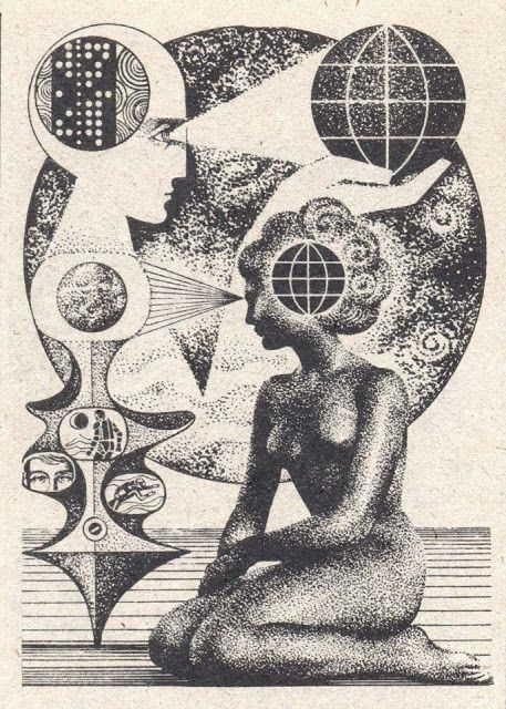 "Untitled by Yugoslavian-born artist Nikolai Lutohin (1932-2000). Possible illustration for the science magazine ""Galaksija"" in the 70s and 80s. via Mazzu Stardust"