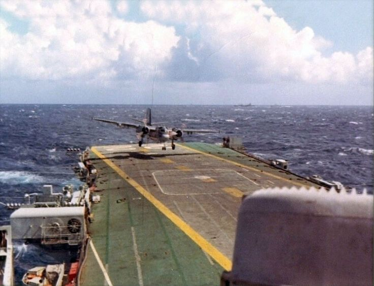 Oct., 1968: Tracker landing on HMCS Bonaventure.