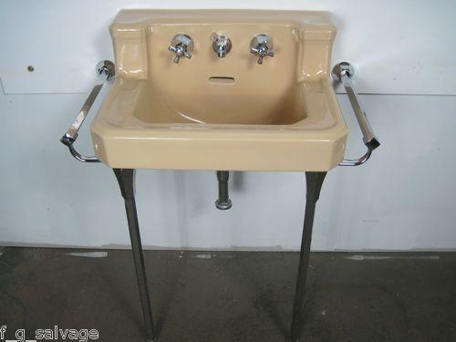 1952 American Standard U0027Companionu0027 Shelfback Console Sink In Persian Brown