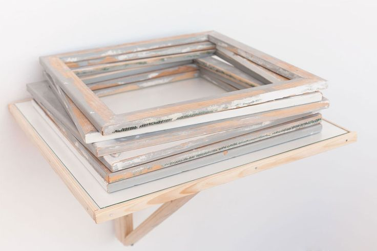 the Continuing Studies of Space. > Artifact: sketch material, stacked square frames.  Exhibited at Bildmuseet Umeå, Sweden