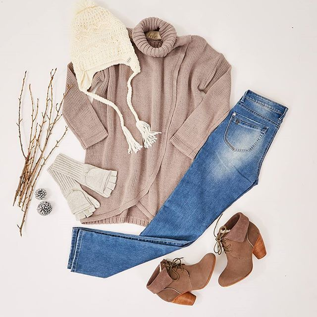 """A flattering combination featuring our very own @bohobirdbybirdsnest! Easy to throw on for comfy, cozy winter style! Outfit: """"Singing With Joy"""" available at birdsnest.com.au Details: #bohobird Sweater & Jeans, #Papinelle Gloves, #EmuAustralia Heels, #Kooringal Beanie"""