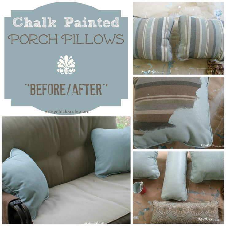 Chalk Painted Pillows Before-After (Annie Sloan Chalk Paint)