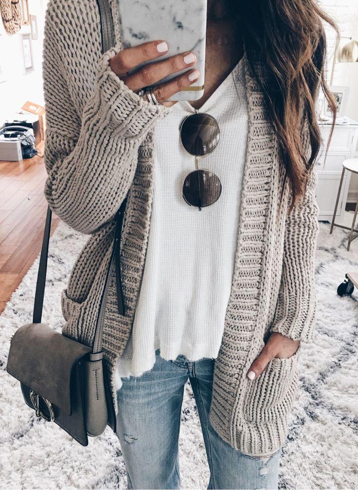 Grey Cardigan & White Knit