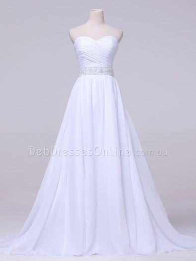 A-line Sweetheart Neckline Ruching Chiffon Deb Dress W853D - Front