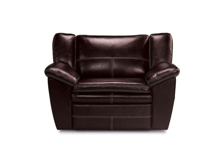 La-Z-Boy Carmen chair and a half dark leather recliner