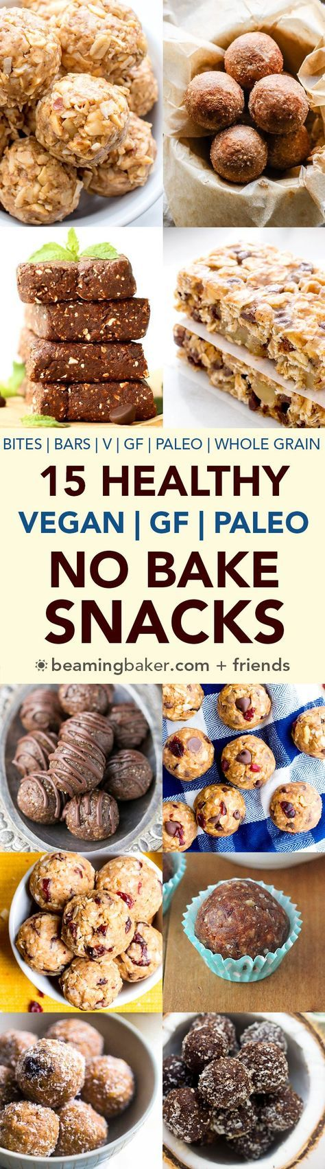 15 Healthy Gluten Free Vegan No Bake Snacks: a tasty collection of 15 easy, no bake recipes for gluten free vegan snacks that are good for ya! #Vegan #GlutenFree #Paleo #DairyFree | http://BeamingBaker.com