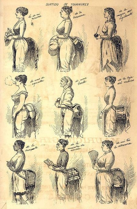 "Карикатура на турнюры из аргентинского журнала ""Москит"", 1886 г. Мой фаворит - стопка книг. А ваш?"