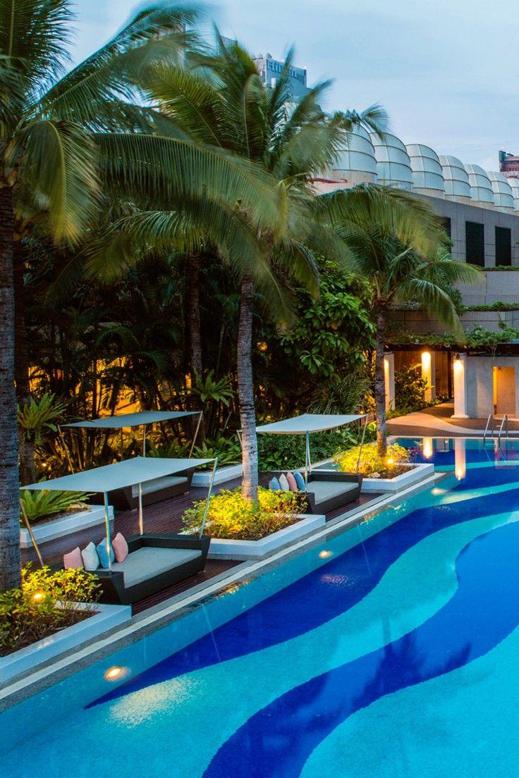 Emporium Suites by Chatrium - Bangkok, Thailand - Lush tropical gardens surround the huge freeform pool on the seventh floor.