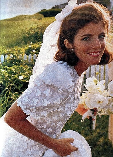 Caroline Kennedy in Caroline Herrera custom designed gown on July 19, 1986.   the shamrocks embroidered on her gown.