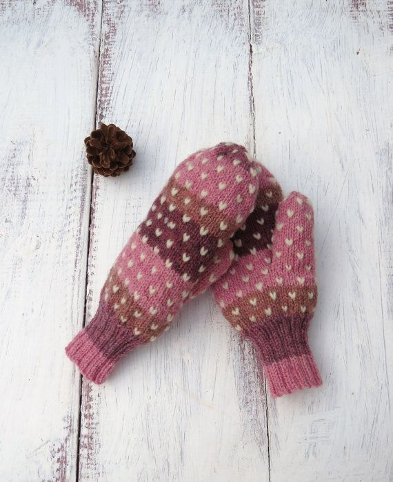 Pink Striped Thrum Mittens Hand Knit Wool Mittens with White Thrums Adult Small on Etsy, $36.00 CAD
