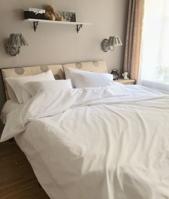 Egyptian Cotton Sateen, Organic cotton satin bedding set, white satin, king queen size, pillow cases, Luxury Handmade, Duvet cover