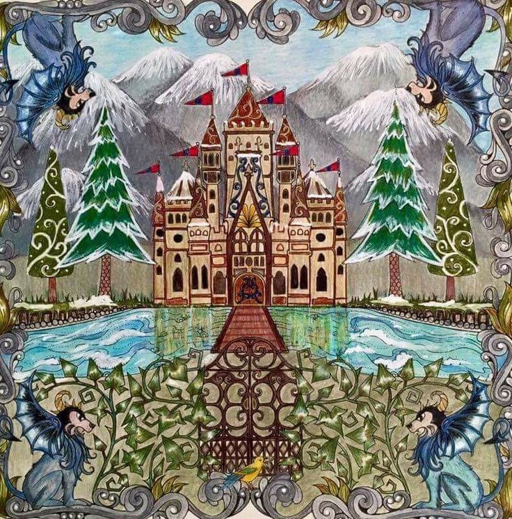 Castle Gate Enchanted Forest Castelo Porto Floresta Encantada Johanna Basford Adult ColoringColoring BooksColoring