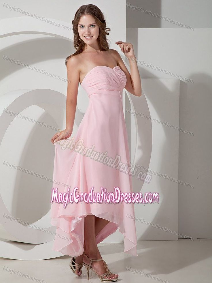 Baby Pink Strapless Chiffon Graduation Dresses For Girls in Tallahassee