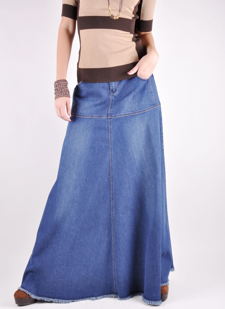 Cozy Casual Long Jean Skirt