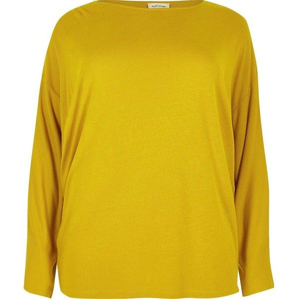 River Island Plus mustard yellow batwing top ($44) ❤ liked on Polyvore featuring tops, plain t-shirts / tanks, t shirts / tanks, women, yellow, relaxed fit tops, river island tops, batwing tops, plus size tops and batwing sleeve tops