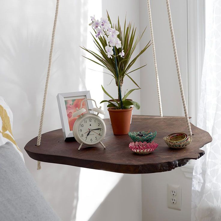 Hanging Table - Sweet Paul Magazine for Mrs. Meyer's Clean Day |  Turn a slab of natural wood into a conversation piece. Unlike any old, run-of-the-mill table, this one is suspended from the ceiling!