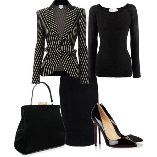 Cute business outfit! Black and white! Jackets with diagonal stripes, black skirt, black shirt, and black pumps!