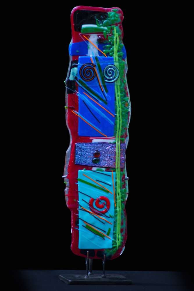 Ringo by Suzanne Wallace Mears at Pippin Contemporary. A kiln-formed glass totem with abstract structure and brightly colored glass. #glassart #contemporaryart
