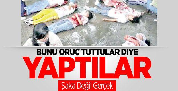 Oruç Tutmanın Bedeli Ve dünya bunu da gördü. Söz bitti! Burası Doğu Türkistan. Ulaşan son bilgilere göre katledilen insan sayısı 28'e ulaştı. Bu insanların öldürülme sebebi: Oruç tutmaları. Artık ne yazabilir, ne söyleyebilirsiniz?