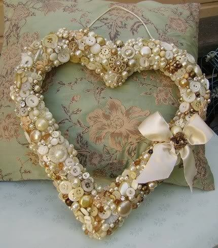 Shabbiest of Chic Valentine's Day Decor: Heart Shaped Embellished Button Wreath