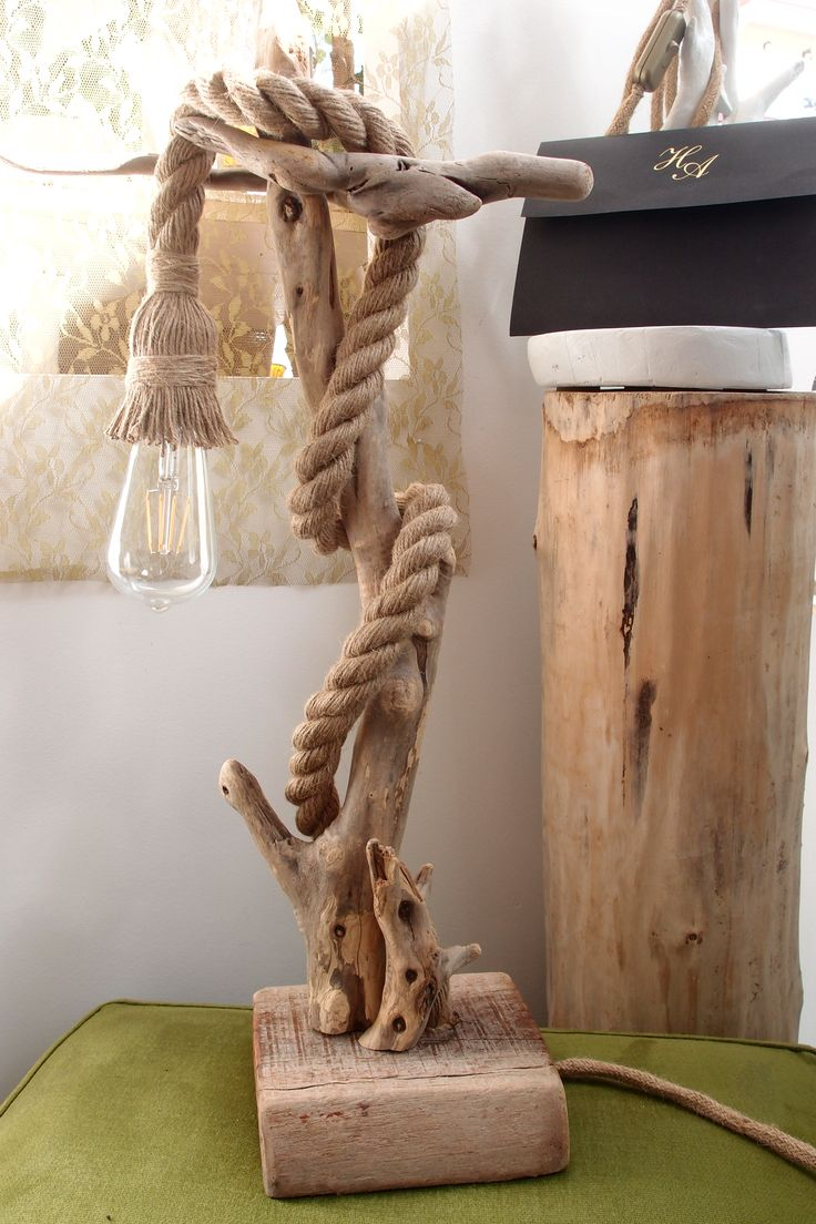 Driftwood lamp 11 diy s guide patterns - Driftwood Lamp With Rope 63 Cm