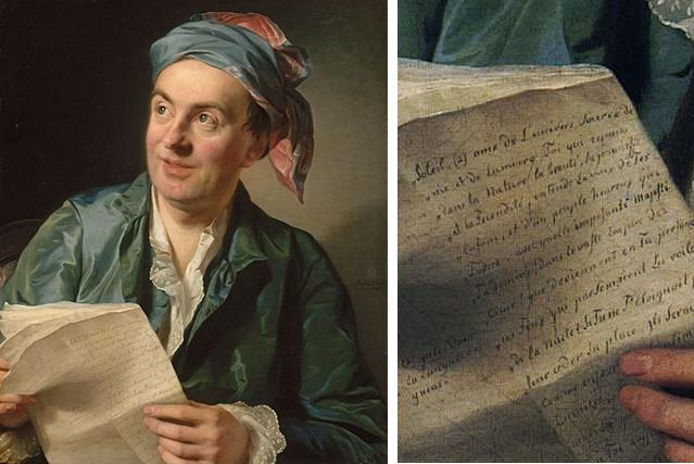 Portrait de Jean-François Marmontel, 1767 Alexandre Roslin Détail de sin papier